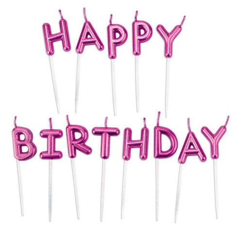נרות HAPPY BIRTHDAY- ורוד