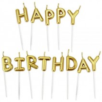 נרות HAPPY BIRTHDAY - זהב