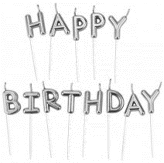 נרות HAPPY BIRTHDAY - כסף