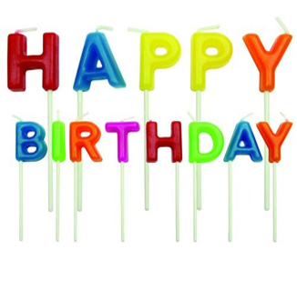 נרות HAPPY BIRTHDAY - צבעוני